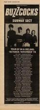 Buzzcocks + Subway Sect UK Tour advert 1978