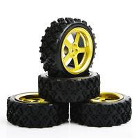 4Pcs RC 1:10 Rally Tires&Wheel Rim 12mm Hex For HSP HPI 1/10 Off Road Model Car