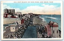 Postcard CA 1928 Long Beach East Seaside & Band Stand Aerial View A1