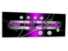 "Glass Wall Art AG312500055 PICTURE STRIPES & DOTS PURPLE 49.2""x19.7"" / 125x50cm"