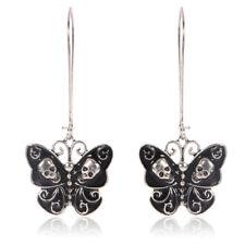 Women Retro Punk Gothic Fashion Jewelry Butterfly Skull Ear Dangle Longearrin G1