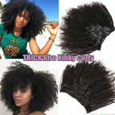 Invisible Clip in Afro Kinky Curly Human Remy Hair Extensions Double Weft THICK