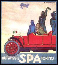 PUBBLICITA' 1912 AUTO SPA TORINO MARCELLO DUDOVICH REGNO AEREO BIPLANO CEIRANO