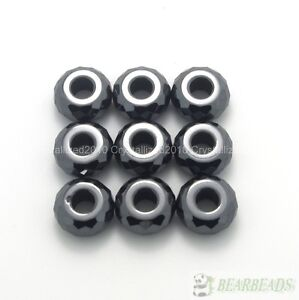 10 Natural Jet Hematite Gemstone Faceted Rondelle Big Hole Charm 7x14mm Beads