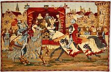 MEDIEVAL JOUST 29 X 19 INCH WALL HANGING ART TAPESTRY