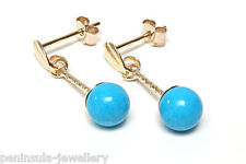 9ct Gold Turquoise 5mm ball drop Earrings Made in UK Gift Boxed