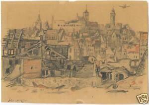 NUREMBERG, GERMANY & ORIGINAL ca LATE 1940's PENCIL DRAWING