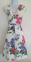 Womens Phase Eight White Floral Botanical Pleated Crossover Occasion Dress 8 New