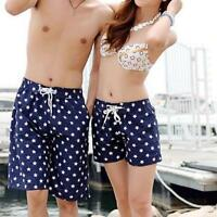 Hot Womens Mens Lovers Couple Dots Short Pants Beach Surf Board Swim Shorts Size