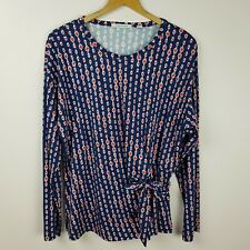 Trenery Top Size L Long Sleeve Navy Blue