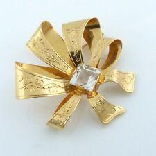 dat.1945: Brosche sign. Engelbert für Stigbert 18 Karat 750er) Gold Bergkristall