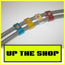 New -3, 8mm Braided brake hose, line, cable separator - Anodised Blue