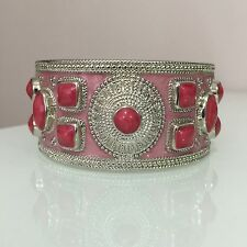 Ladies Antique Look Wide Cuff Steel Bangle / Bracelet / Fushsia & Baby Pink