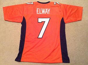 UNSIGNED CUSTOM Sewn Stitched John Elway Orange Jersey - M, L, XL, 2XL, 3XL
