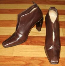 CHIC VINTAGE 1990s GUCCI ITALY ANKLE BOOTS BOOTIES BROWN LEATHER HIGH HEEL 8.5