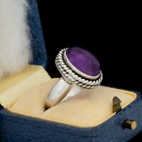 Antique Vintage Deco 925 Sterling Silver Purple Siberian Amethyst Pinky Ring S 5