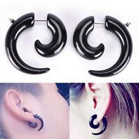Gothic Women & Men Punk Black Acrylic Snail Stud Earrings Ear Piercing Jewelry F