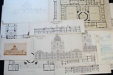 19th Cent. Architecture- Belfast City Hall Ireland - 15 Drawings, prints, letter