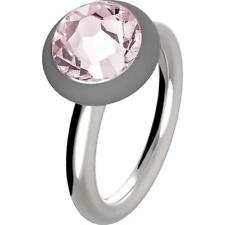 HIP HOP Anello donna Happy Loops HJ0149 acciaio cristallo rosa misura 14 fashion