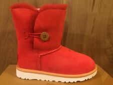 UGG Australia NIB $120 Bailey Button Sheepskin Wool Girl's Red Youth Boots sz 1