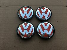 NEW 4PC SET RED 56MM VW VOLKSWAGEN GOLF BEETLE WHEEL HUB CAPS LOGO 1J0601171