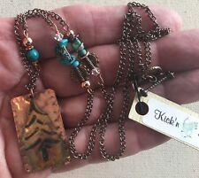 """Southwest Dog Tag Necklace Tree Pendant 23"""" Stone Accented Chain Coachella Boho"""