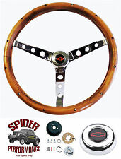 "1960-1969 Chevy pickup steering wheel Red Bowtie 15"" Classic Walnut"