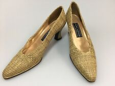 Stuart Weitzman Woven Lame' Pumps Size 7.5 AAAA Vintage Gold Evening Shoes