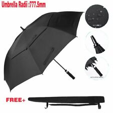 Large Double-canopy Windproof Waterproof Automatic Open Golf Umbrella Black Zr