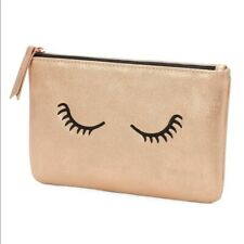 Stella & Dot Mini Pouch ~ Embroidered Lashes ~ Rose Gold Brand New