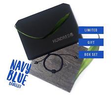 Thin Blue Line Men Bracelet for Enhanced Throat Chakra Navy Blue Bead Gift Set