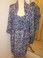 Gina Bacconi Azul Vestido estampado de encaje y chaqueta tamaño 16 SE50037