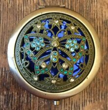 Butterfly Compact Mirror- Metal With Green & Blue Butterfly- New