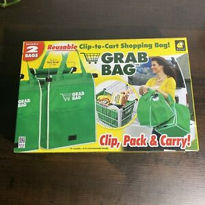 Grab Bag Clip-To-Cart Reusable Grocery Shopping Bags Pack of 2 As Seen On TV NIB