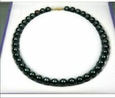 """18"""" Genuine Round 8-9 mm black Tahitian Aaa+ Pearl Necklace Necklace 14k clasp"""