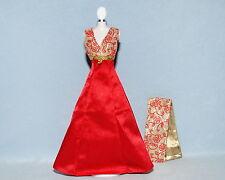 DAZZLING Ruby Red w/ Gold Genuine BARBIE Formal Sleeveless Dress w/ Matched Wrap