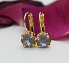 Gold Plated Cappuccino DeLite Leverback earring with Swarovski Crystal Element