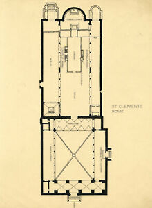 Architectural Plan, Basilica of Saint Clement, Rome – c.1920s pen & ink drawing