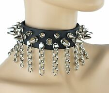 Spike And Chain Goth Choker Leather Choker Steampunk Punk Rock Gothic Bikers