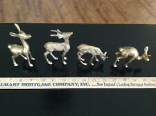 Vintage Set of 4 Brass Deer & Reindeer for Holiday Decorations, Great Condition