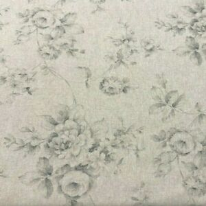 French Faded Roses Floral Linen Fabric in Grey | Double Width 280cm Wide |