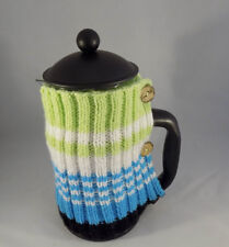 CAFETIERE COSY - HAND KNITTED - FRENCH PRESS  COFFEE COVER  - MULTI SHADES