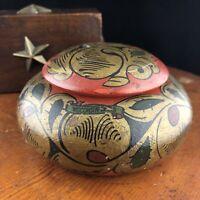 Vtg Wisconsin Dells Box Lidded Handainted Trinket Box Lacquered Wood Soviet