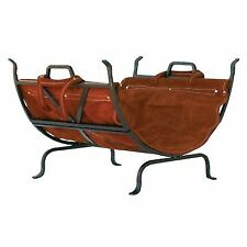 UniFlame Olde World Iron Fireplace Log Holder Rack With Suede Leather Carrier