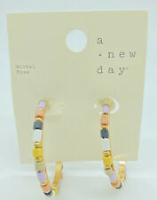 A New Day Colorful Wood Beaded Hoop Earrings  Gold Tone Nickel Free