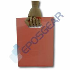More details for 100 small red punch out handle gift fashion party market plastic carrier bags