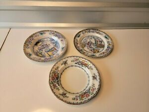 Antique Hammersley China? Oriental Art Motif Mixed Lot of 2 Bowl & 1 Plate