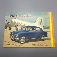 Vintage Fiat 1400 A Car Automobile Brochure Retro Fold Out Diagram Italy