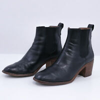 Madewell Chelsea Boots Regan Womens US8 Black Leather Chunky Wooden Heel