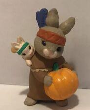 Hallmark Merry Miniature 1992 Indian Bunnies with Pumpkin Halloween Thanksgiving
